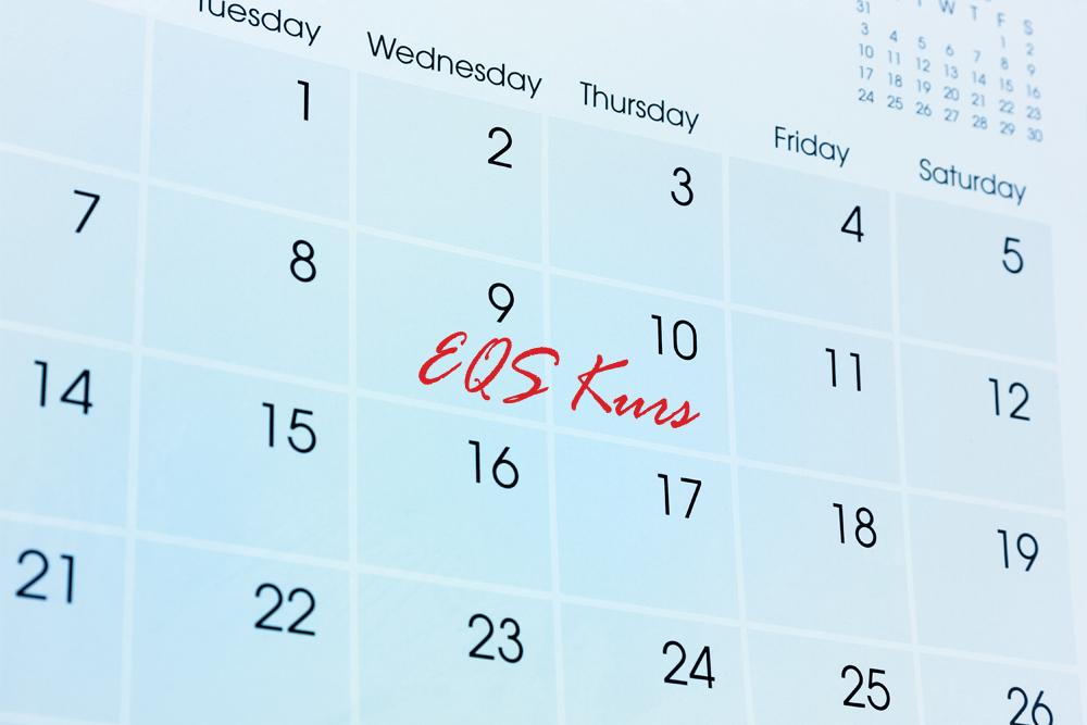 Bilde av kalender hvor EQS kurs er avmerket