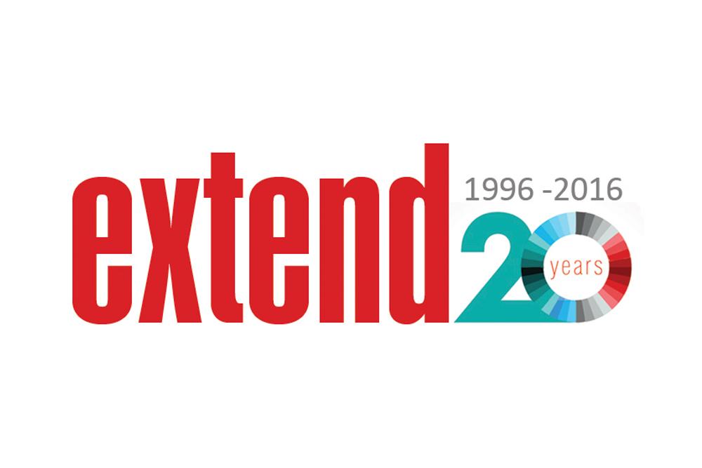 Jubileumslogo Extend 20 år