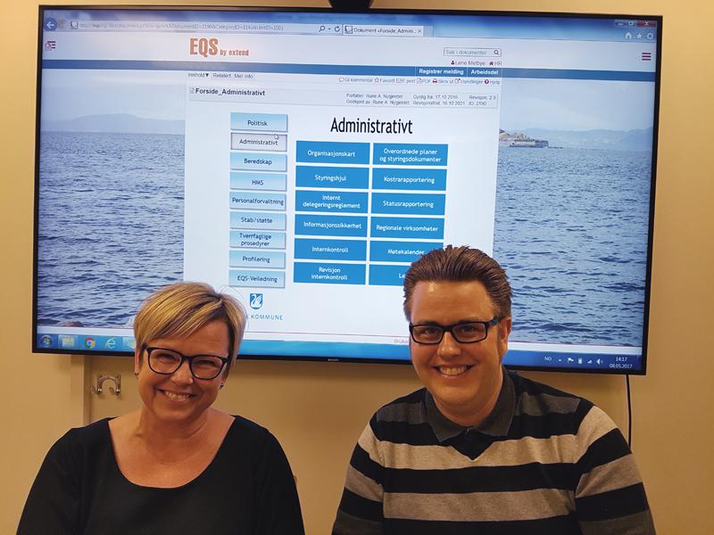 Lene Melbye og Rune Nygjerdet har systemansvar for EQS i Gjøvik kommune