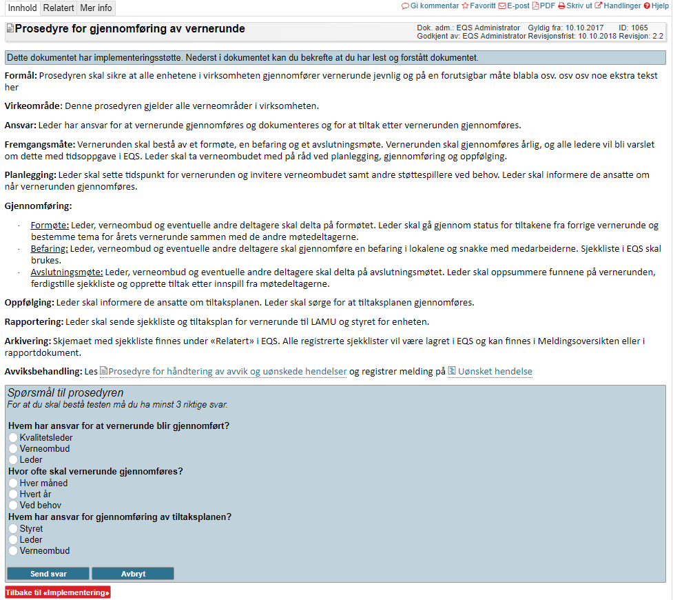 Eksempel på dokument med implementeringstest