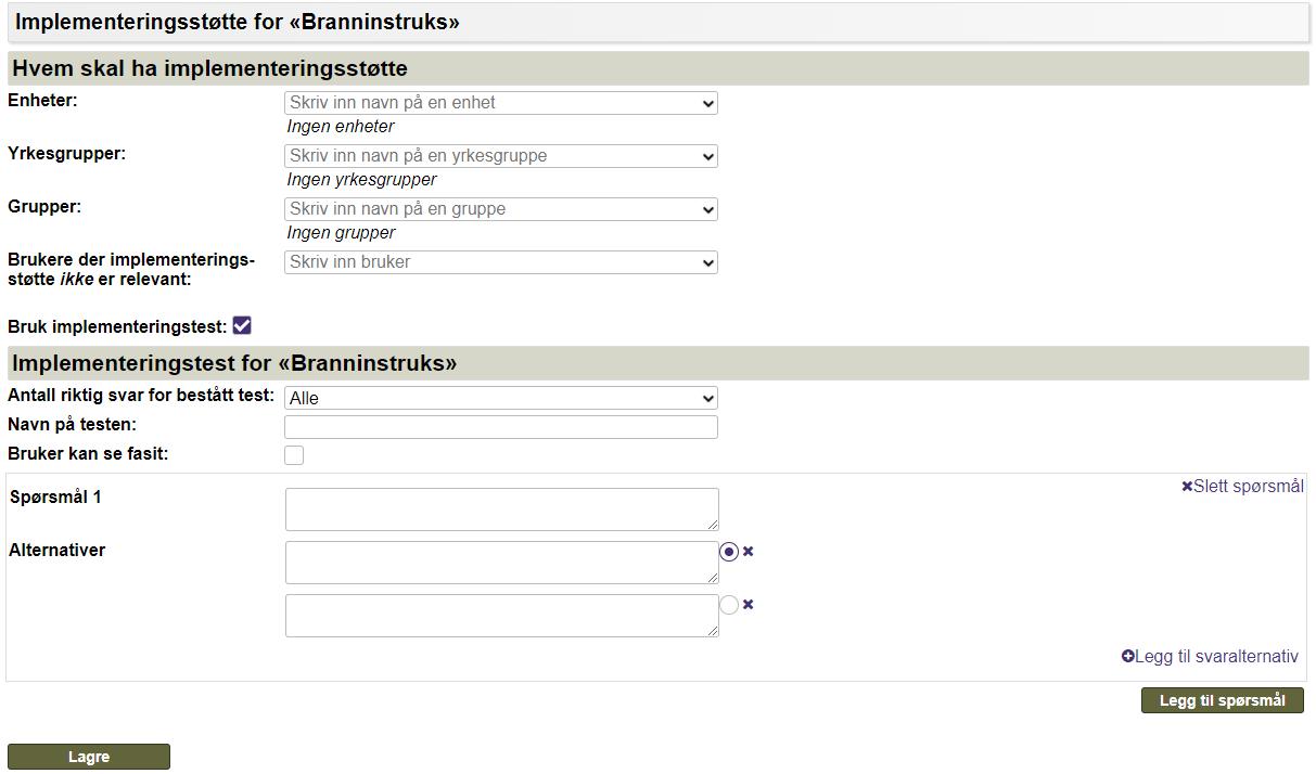 Eksempel på hvordan man lager en implementeringstest for et dokument i EQS